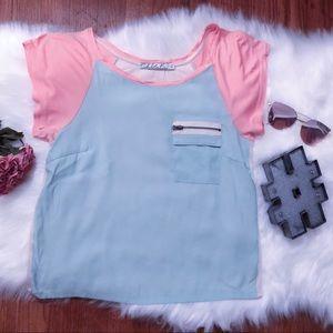 Chloe K Pastel Color Block Tee XS